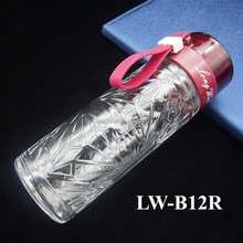 Outdoor sport portable borosilicate tea filter glass water bottle