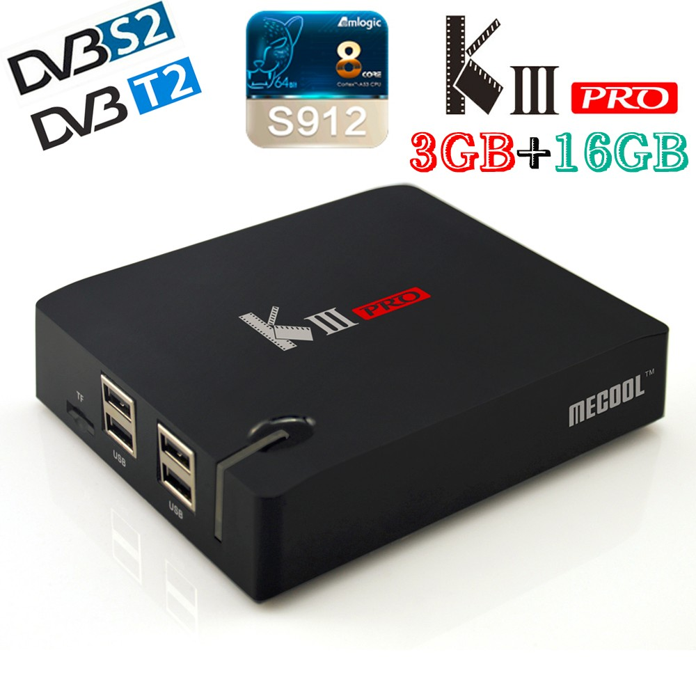 DVB-T2 KIII PRO 3G/16G Tv Box DVB-S2 Amlogic S912 Octa core Android 6.0 TV Box 2.4G/5.0G WiFi 1000M 4K Media Player