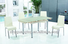 extendable tempered glass chrome dining table