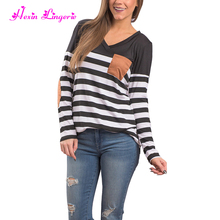 China Factory Striped Pattern V Neckline Women Long Sleeve Blouses
