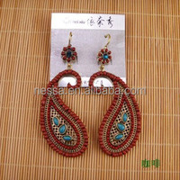 Red stone clip earring NSER-12677