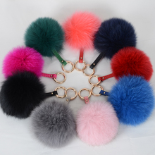 fox fur pom pom keychain / fox fur ball / fur pom poms