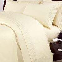 Newest designs embroidery lace king plain polycotton home textile handmade bed sheets