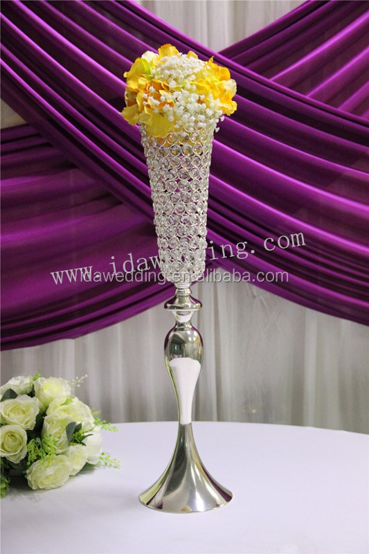 guangzhou wedding market vase glass vases lighted led table top silver centerpiece