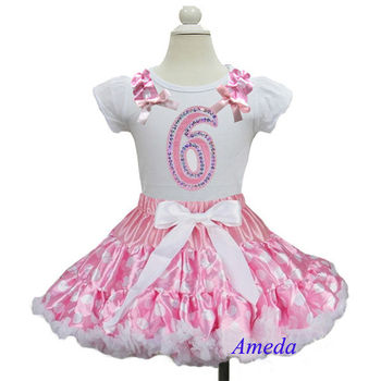 Pink Pettiskirt with Pink White Polka Dots Ruffles Bling 6th Birthday White Short Sleeves Top Party Dress 1-7Y