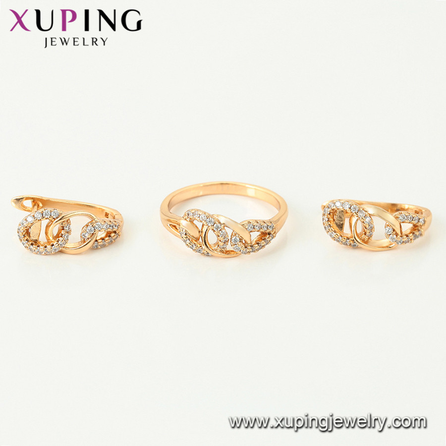 64784 Xuping new design gold women ring and earring sets
