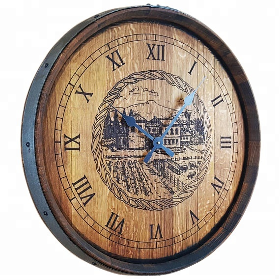 Custom logo wall mounted vintage barrel top clock rustic home decor clocks