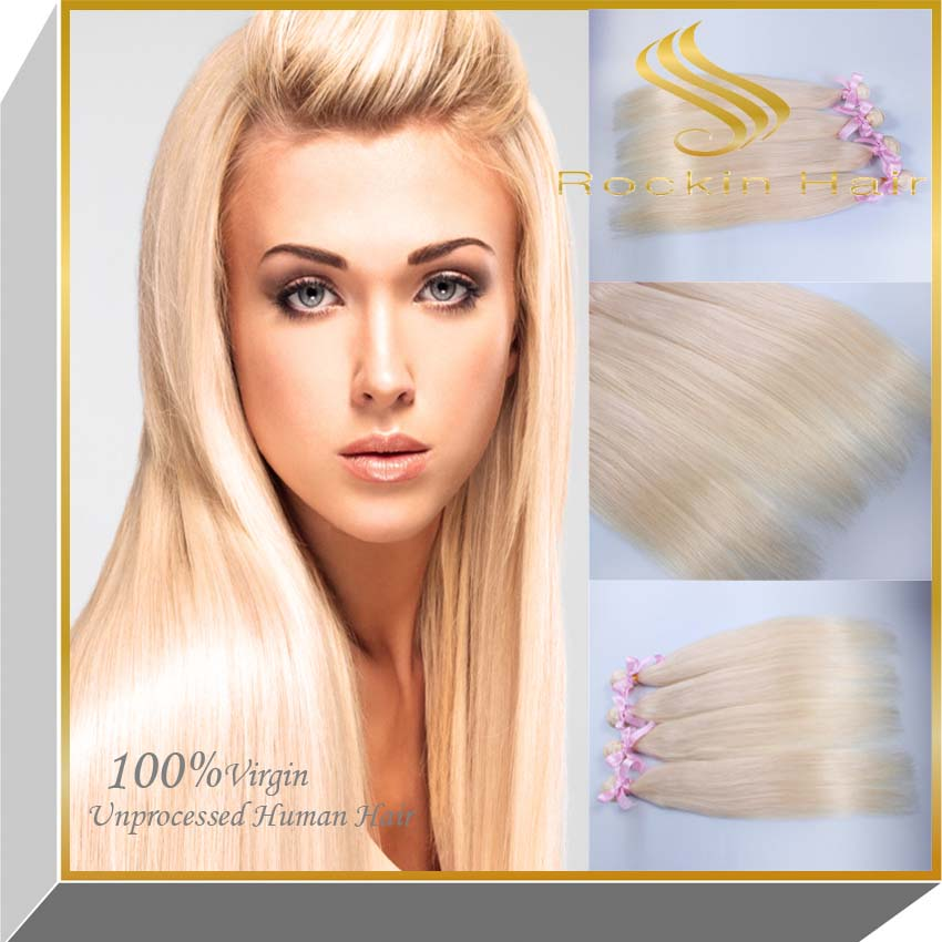 8-30 inch blonde smooth natural straight hair extensions 100% brazilian virgin human hair bundle in 613# color