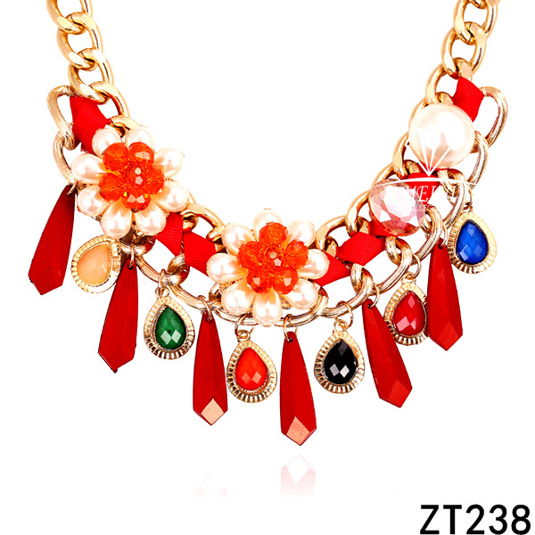 2014New arrival style wholesale red diamond necklace