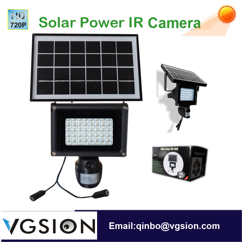 Solar Charge Power Light Motion Detect Recording 720P Floodlight PIR Camera Surveilanace system