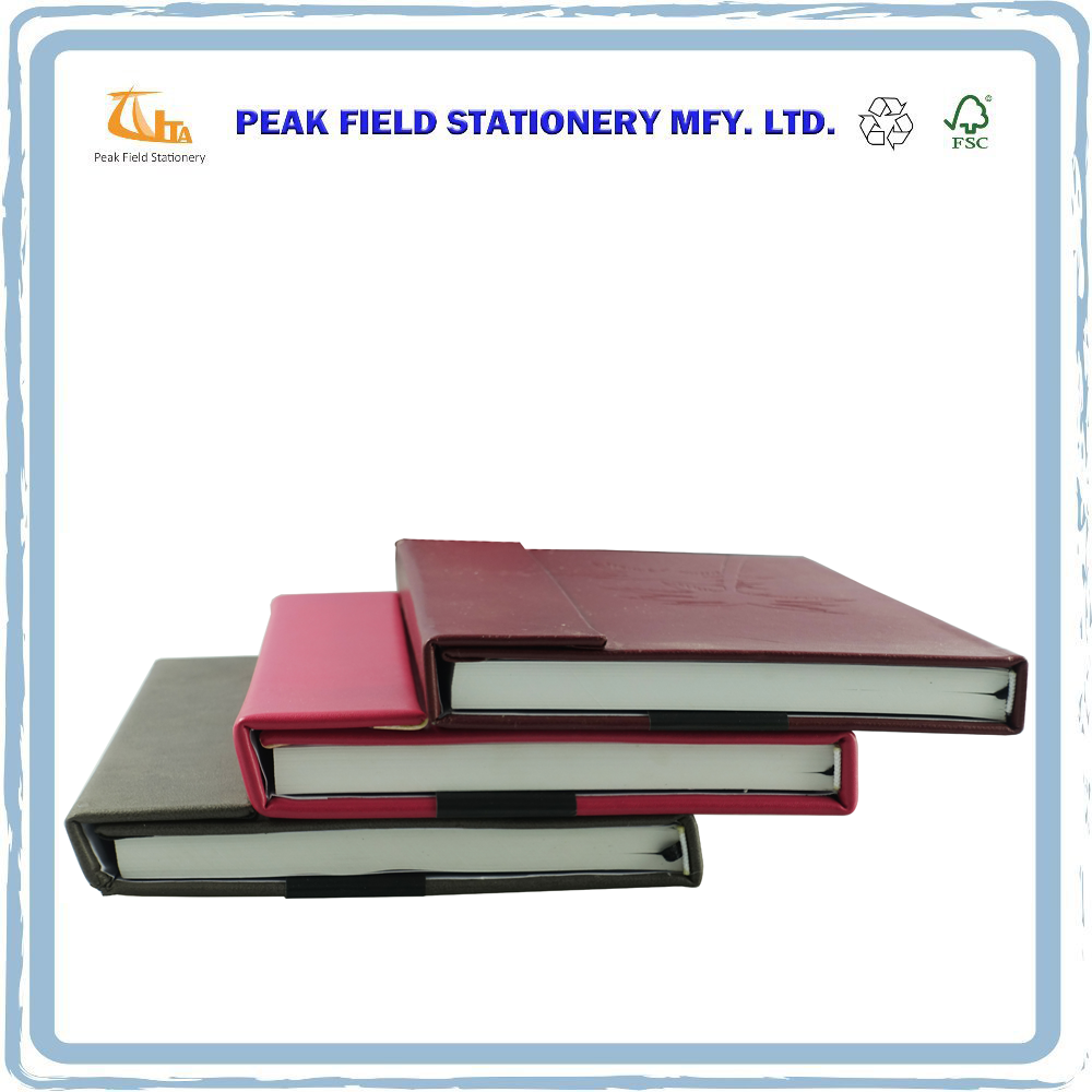 A4 Pu Leather Hard Cover Embossed Logo Stationery Notebook