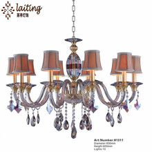 Zhongshan Laiting Fancy Design 10 Lights Indoor gold Candle Crystal Chandelier with Lampshade
