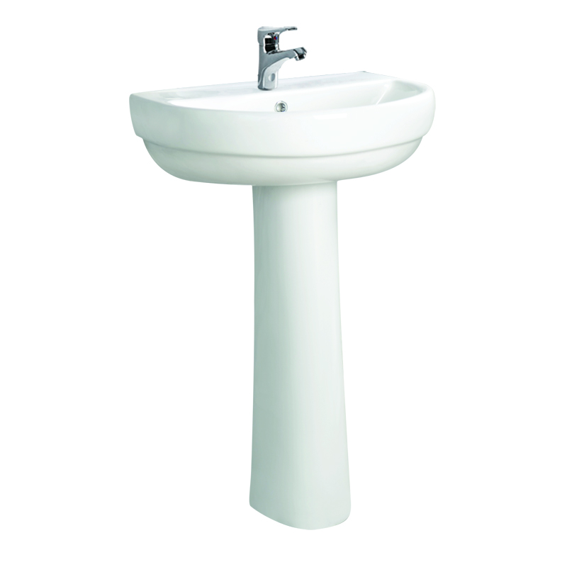 Fashion white lavatory sink basin with full pedestal