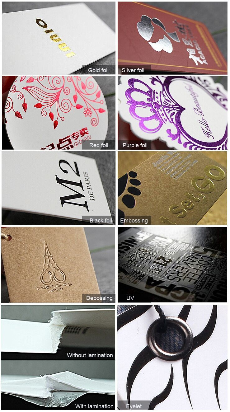 Hang tags with gold/silver foil or UV surface for women/men's clothing