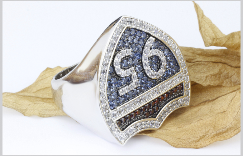 2015 Sterling Silver Men's Ring pave with colored CZ