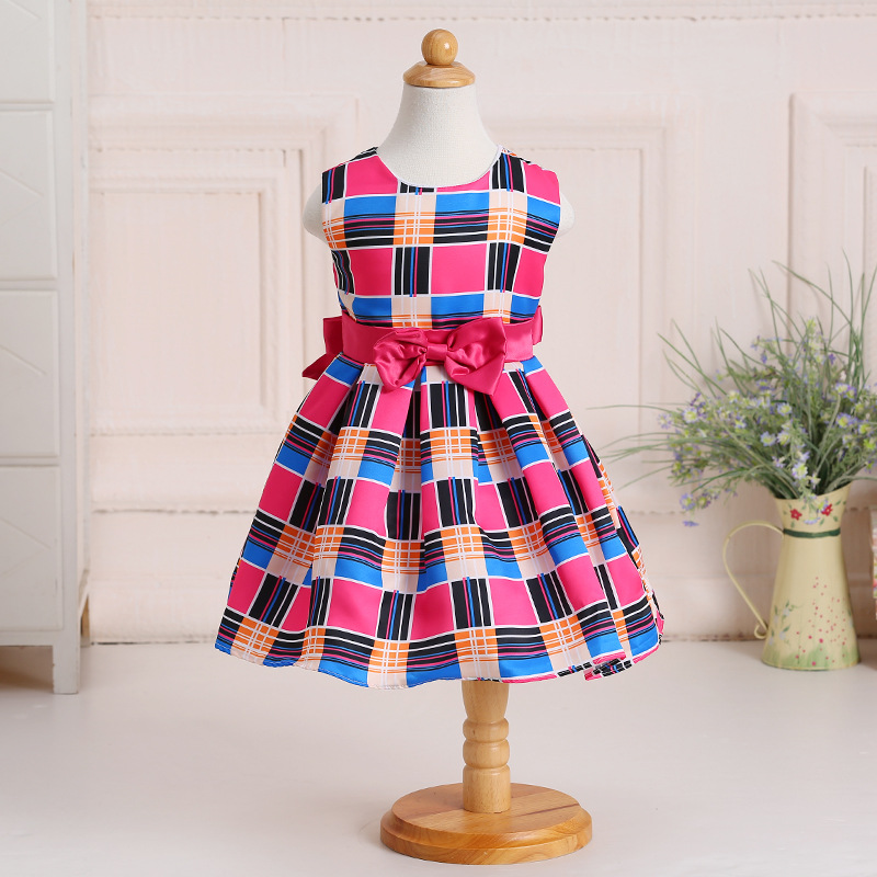 children frocks designs new fashion plaid bowknot sleeveless children's princess skirt dress dresses of the girls