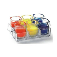 6-compartment Acrylic Wineglass Tray, Acrylic Wine Cups Holder with Handle, 6 hole Lucite Wine Serving Tray