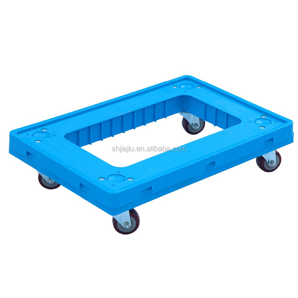 4 trolley wheels plastic moving pallet plastic tote dolly