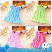 Wholesale summer factory price ruffle striped flower latest patterns children frocks designs casual cheap girls' dress for beach