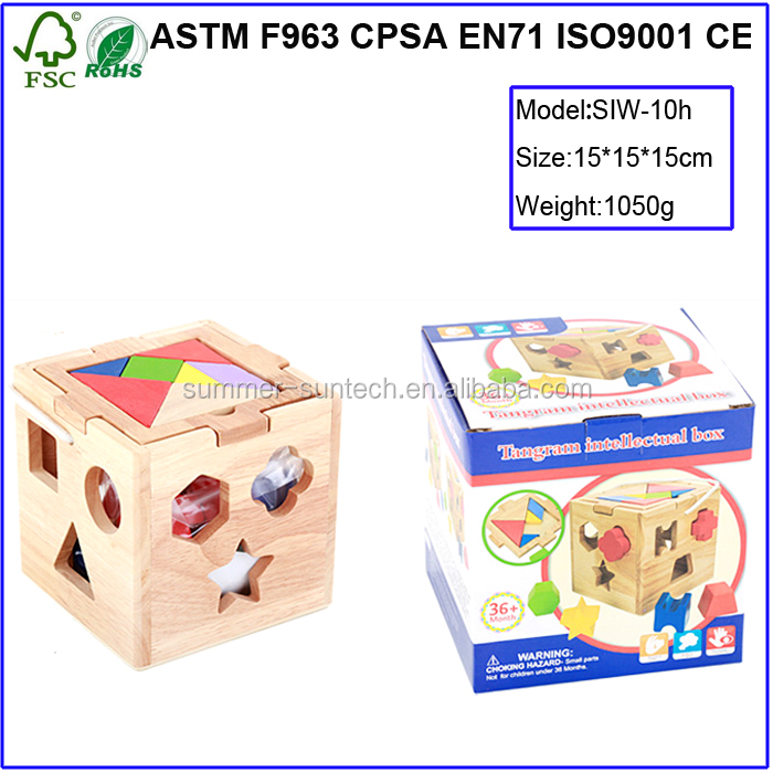 12 Hole Cube for Shape Sorter Cognitive and Matching Wooden Toys / Wooden Geometric Figure Box / Beechwood Shape Sorter Box