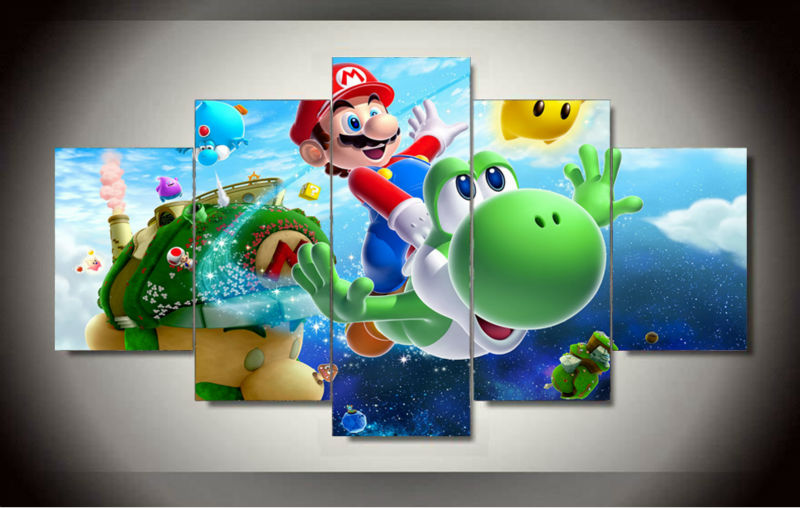 Wholesale Large Wall Art Cartoon Picture Oil Painting Super Mario Canvas Prints