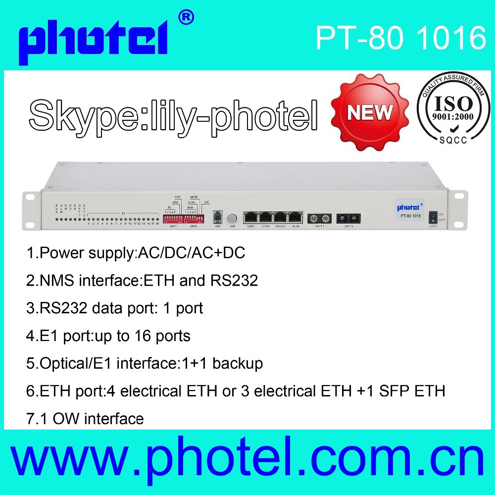 1+1 protection Fiber optic multiplexers with 16E1 + 4 ethernet+ 1 RS232+ dual power