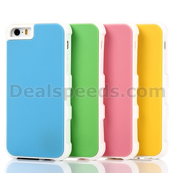 Dual Color Back Silicone Cover Case for iPhone SE 5/5S