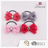 Silk Bow Tie Ribbon Hairtie Flower Bands for Girls Manufacturer China