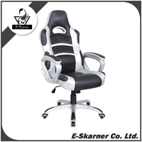 E-Skarner ergonomic computer gaming racing seat chair with adjustable armrest and wheel