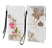 Luxury Rhinestone Crystal rose flower Wallet Bling Case Cover Diamond Cover Phone case for iphone 5 5s 6 6plus