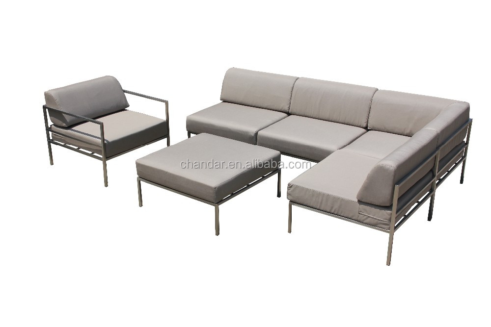 stainless steel modern luxury sofa set,Patio furniture garden furniture ,outdoor sofa with fabric cushion