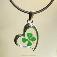 Transparent Resin Charm Heart Green Four Leaf Clover Pendants