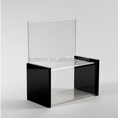 handmade acrylic suggestion box with brochure holder black perspe advertisement Box