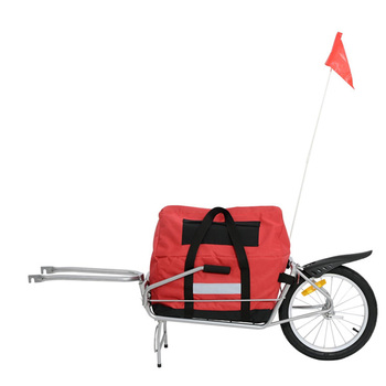 Single Wheel Foldable Bicycle Cargo Trailer - Red