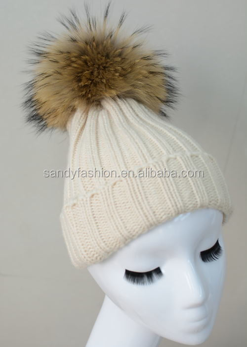 New Style Crochet Beanie Hats With Large Fur Pompoms Women Hats
