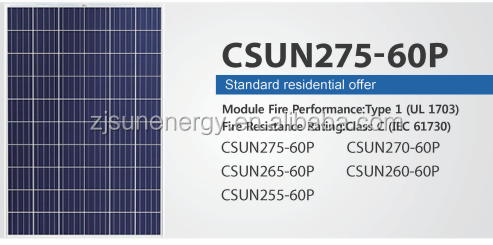 60 Cell famouse CSUN Poly 275w solar panel WITH FULL CERTIFICATE