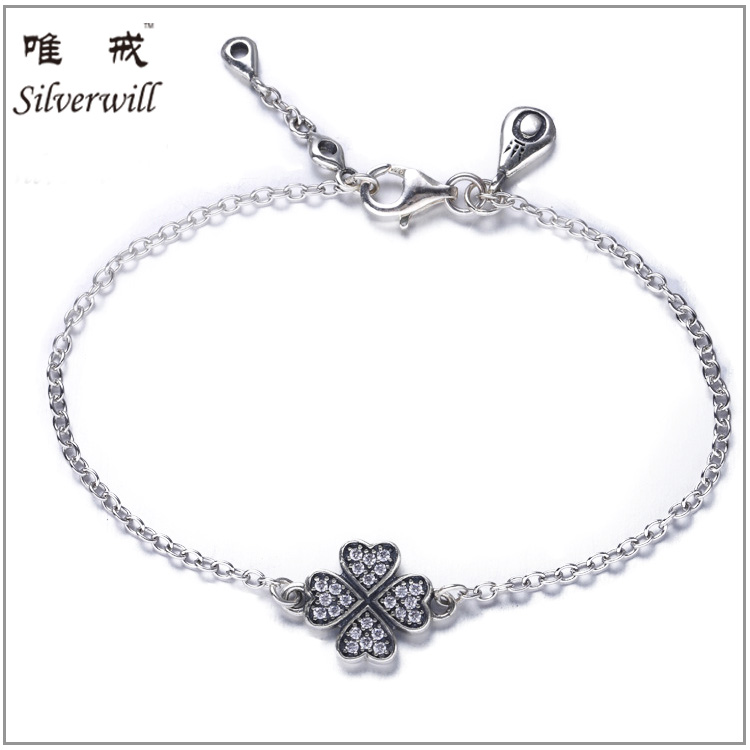 925 sterling silver high quality top brands lucky flower bracelet with zirconia