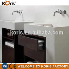 Super white composite acrylic solid surface bathroom countertops with built in sinks