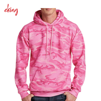 Sublimation pink camo hoodie sweater mens cowl neck without ribbed bottom blank camo hoodie