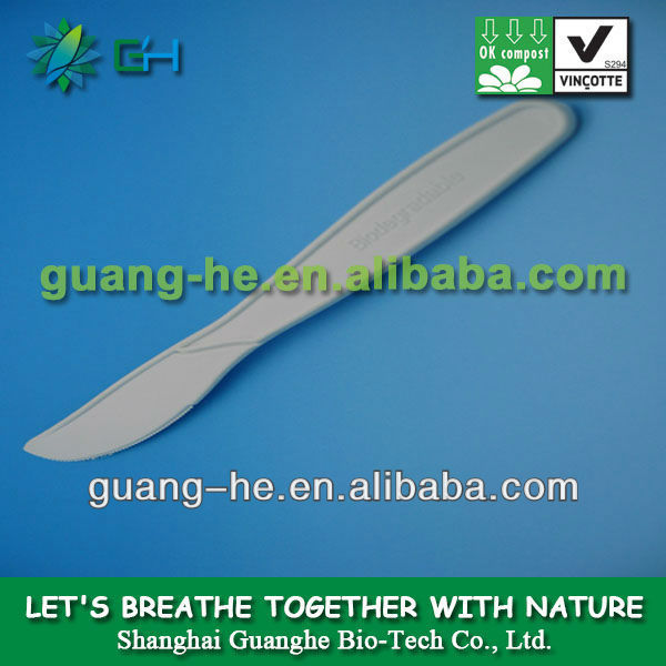 eco-friendly 100% biodegradable PLA knife,Biodegradable cutlery/utensil, biodegradable flatware