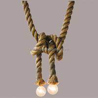 For Coffee Shop Industrial Classical Hemp rope Pendant Light