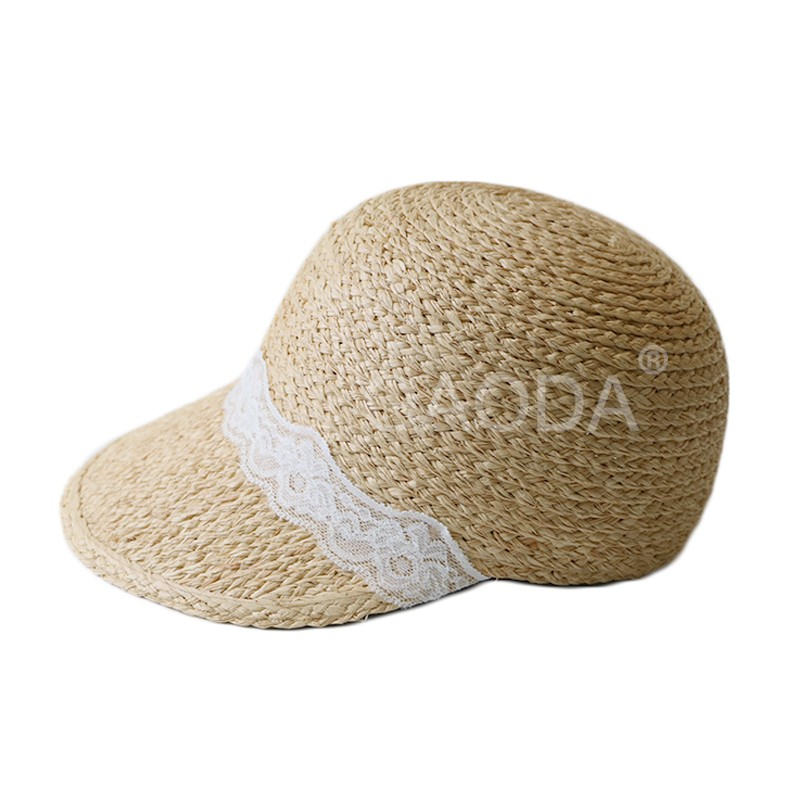 Ladies lace decorated raffia straw sun visor hat