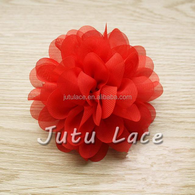 Decorative chiffon fabric scallop flower - wholesale handmade hair accessories /wedding craft red flowers