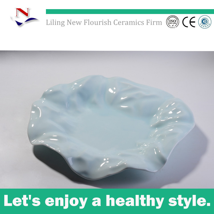 irregular shape light blue dishes and plates