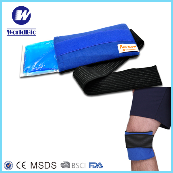 Reusable Blue Gel Ice Pack with Wrap Strips