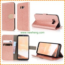 Luxury Metal Button Glitter Shinning Diamond Stand Wallet leather case For Samsung Galaxy s8 plus