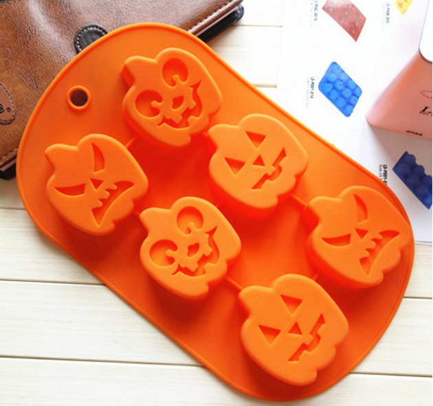 hot sale 6 holes pumpkin shape silicone cake mould for halloween
