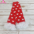 Infant Toddler Warm Red White Hearts Pattern Leg Warmer Baby Girls Valentines Day Chiffon Ruffle Leg Warmer