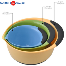 WISHOME brand factory wholesale custom PP+TPR 3 piece plastic mixing bowl with easy grip handle