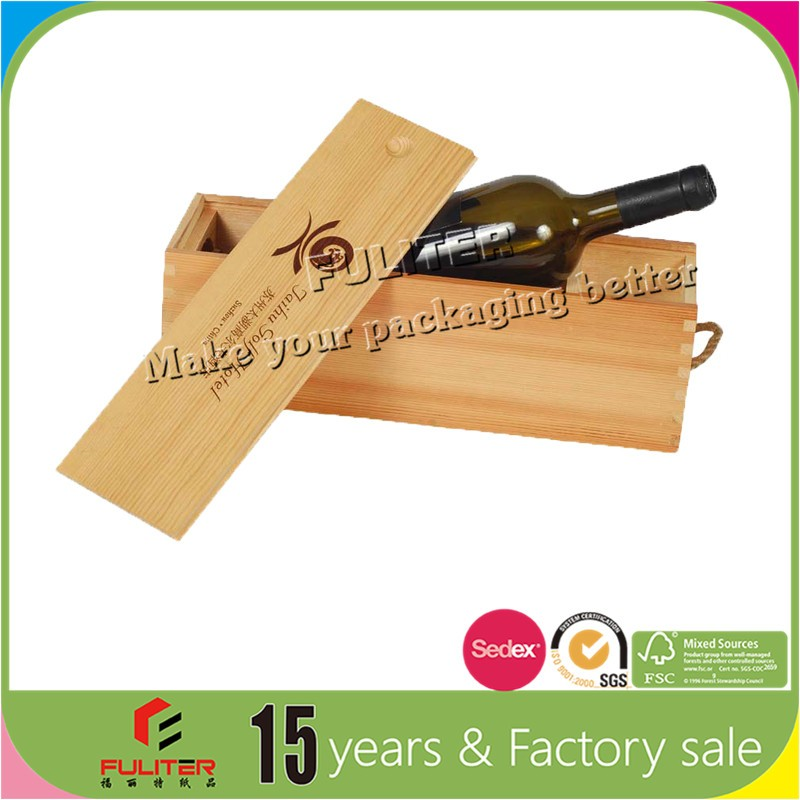 New trends unfinished excellent wood gift boxes for wine bottles